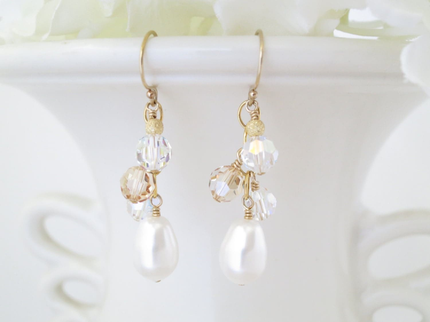 Gold cluster earring, Swarovski crystal and pearl cluster earring