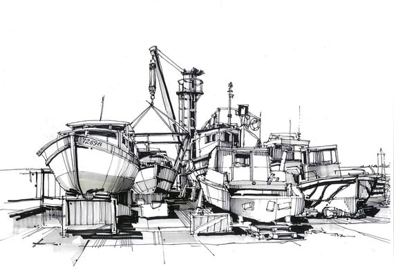 items op etsy die op oude boten tekening  haven schets  mariene landschappen  geru u00efneerde boten