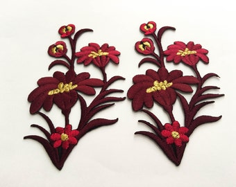 2 pcs Drak Red, Gold  Flower Patch/Embroidered Flower Patch /Embroidered Iron on Patch / Flower Applique Size 6.2x11.8cm