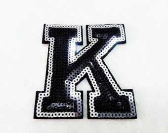 Alphabet Letter K Iron on Patch - Black Sequin K, Glitter Applique Embroidered Iron on Patch - Size 6.6x7.8 cm#T1