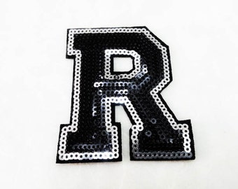 Alphabet Letter R Iron on Patch - Black Sequin R, Glitter Applique Embroidered Iron on Patch - Size 6.3x7.5 cm#T1