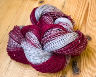 Organic natural hand-spun merino yarn: large sized/gradient color
