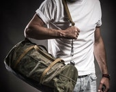 Weekender by Kruk Garage Canvas and leather bag Duffle bag made of military canvas and army belts Sport bag Men's bag Travel bag