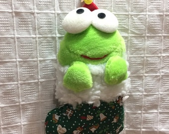Vintage 1992 Sanrio Keroppi stuffed plush Christmas Ornament Kero plush toy