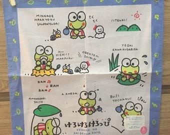 Vintage child's handkerchief Sanrio Kerokero Keroppi 1992 Made in Japan