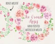 Watercolor floral wreath: hand painted ice cream-colored roses; bonus wreath; wedding clip art; watercolor clip art - digital download