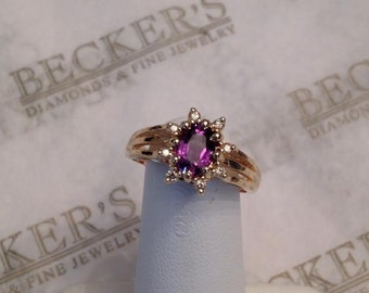 Vintage 14k yellow gold Oval Amethyst & 8 Diamond Starburst Halo Ring with Triple Split Shank, size 6.5, .86 tw