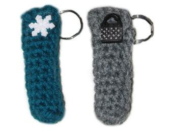 Lipbalm holder keychain, lipbalm cozy keychain, chapstick holder, lipbalm keychain, stocking stuffer