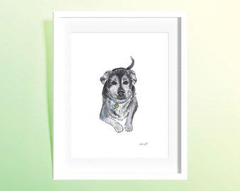 "Custom Watercolor Pet Portrait 9x12"""