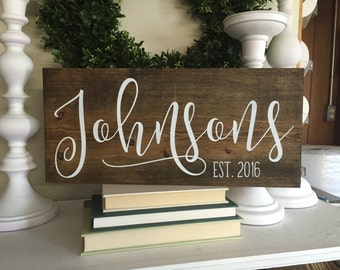 wood last name sign, family sign, family name sign, wedding gift, wedding sign, established wood sign, rustic name sign, custom sign,