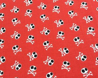Patchwork fabric - red skulls