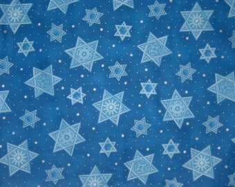 Festival of Lights 45685 Star of David  Hanukkah / Jewish Fabric  / Fat Quarter, 1/2 Yard and 1 Yard Cuts /  Cotton Fabric