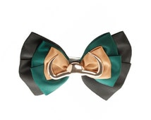 Marvel Avengers Loki Silk Bow Tie or Hair Bow With 2 Clips Costume Accessory