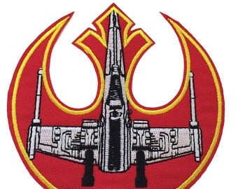 """Star Wars Rebel Alliance Symbol and X-Wing 4 """" Wide Embroidered Iron On Patch"""