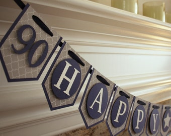Blue and Silver Age Specific Birthday Banner