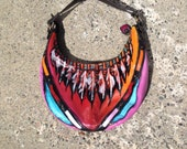 Hand Painted Liz Claiborne Faux Leather Handbag-Purse / Pink Rainbow Feather Design