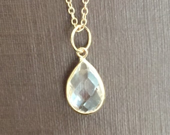 14k solid yellow gold and white topaz charm,  pendant, pear shaped