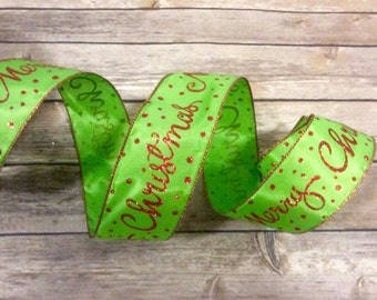 Red Green Glitter Dots Wire Edge Ribbon Merry Christmas Tree Holiday Bow