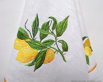 Machine Embroidery Design Lemon Branch - 2 sizes
