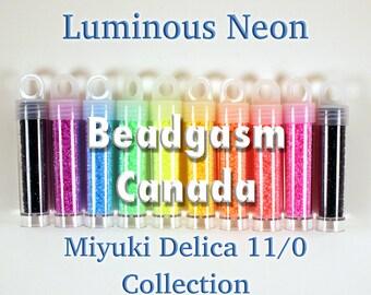 Luminous Neon Miyuki Delica Bead Collection 52 grams size 11/0 *with bonus*