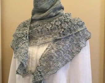 Hand knit shawl, shawlette, scarf, pale blue, merino wool