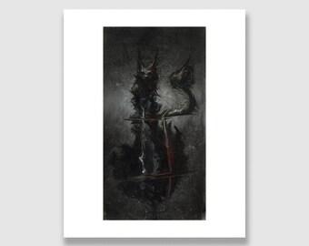 Dark Fantasy Art Print. Giclée 8in x 10in. Ghostly Black Cat