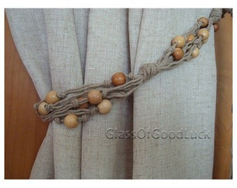Curtain TieBacks.Decorative Tie Backs Curtain.Natural linen Curtain Tie Back.