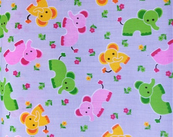 Blue Elephants Poly cotton Fabric Dress/Craft Fabric …
