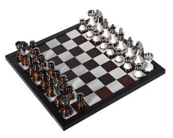 Black/Nickel Chess Set