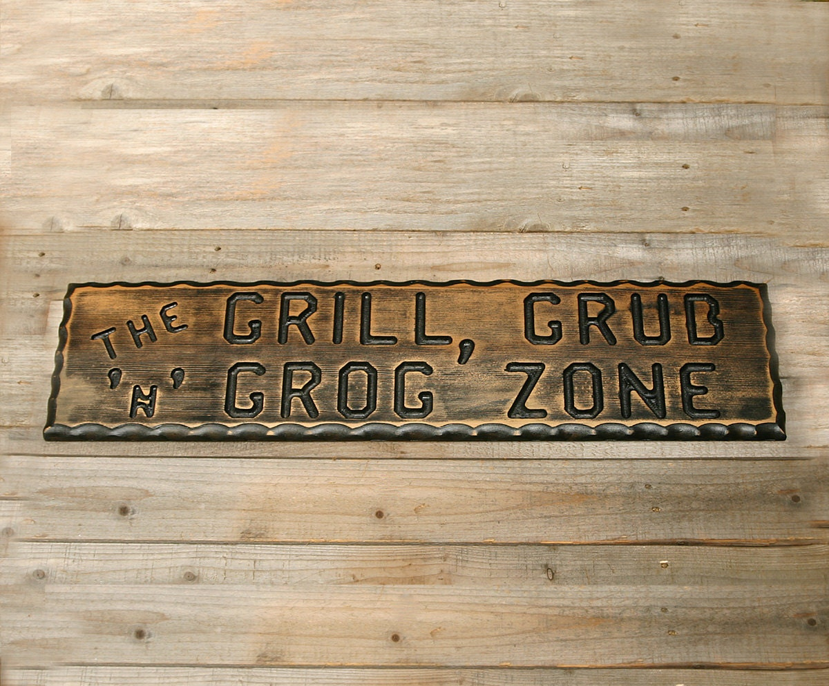 Man Cave Bbq Signs : Bbq sign patio decor man cave barbeque custom wood signs