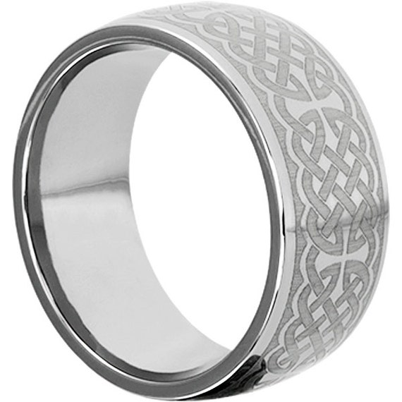 10mm Cross Wedding Band With Knot Work Tungsten By