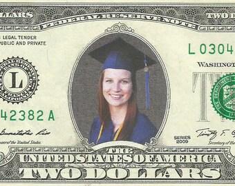 Graduation 2 Dollar Bill - {Color} Real Money - MOST UNIQUE GIFT for your Grad / Graduate