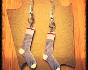 "Earrings ""bottom wool"" pending/Vintage Folk Socks Earrings"