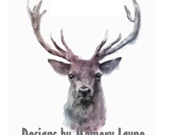 Deer Water Color Printable Wall Art