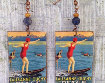 Upcycled Lausanne Switzerland Earrings, Lake Geneva, paper and cardboard decoupage