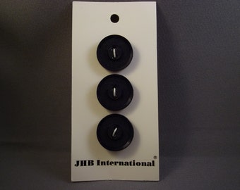 Navy Buttons on Card, JHB International, 3 pcc., 3/4in., vintage