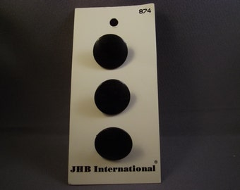 Black Buttons, JHB International, 3/4in., 3 pc., vintage