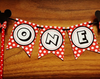 "Mickey Mouse 'ONE"" Cake Bunting"