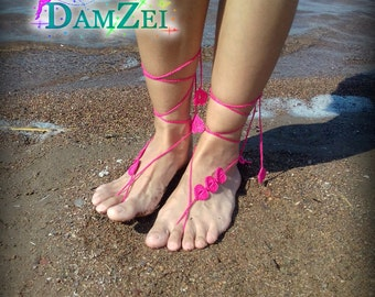Wedding Barefoot Sandal, Crocheted Heart Anklet, Hot Pink Barefoot Sandal, Lace Barefoot Sandal, Barefoot Anklet, Foot Jewelry