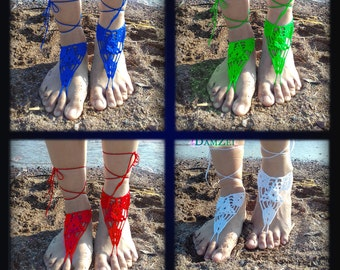 White Barefoot Sandal, Green Barefoot Sandal, flower Barefoot Sandal, Black Sandal, Lace Barefoot Sandal, Barefoot Anklet, Foot Jewelry