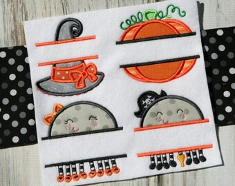 Split Halloween Applique - 22 Different Applique Machine Embroidery Designs 4x4 5x7 6x10