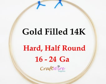 14/20 Gold Filled Wire, Half Round, Half Hard, 16 18 20 21 22 24 Gauge, Gold Filled 14K, Jewelry Craft Wrapping, 1 5 15 25 feet