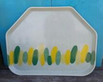 Mid-century Modern Fiberglass Camtray Cafeteria Tray 1418 Green Yellow