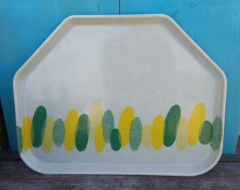 Mid-century Modern Fiberglass Camtray Cafeteria Tray 1418 Green Yellow