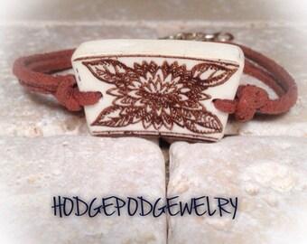 Broken China Bracelet Leather Bracelet Handmade Jewelry
