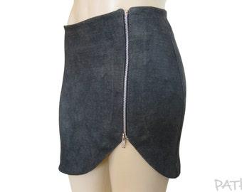 """Short skirt """"Scissors"""", summer pencil skirt, asymmetrical faux denim skirt, zip straight skirt, spring charcoal skirt."""