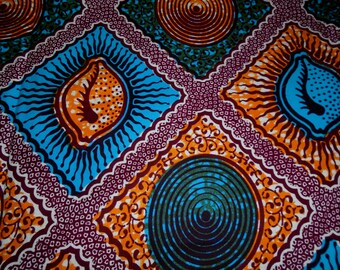 African Wax Print Fabric - Cowrie Shell Print