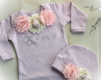Newborn Girl Take Home Outfit, Personalized Newborn Outfit, Personalized Newborn Layette, Baby Girl Coming Home Outfit