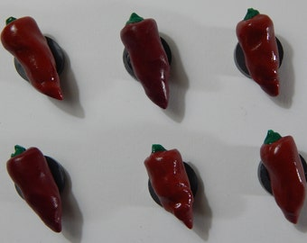 Red Chili Pepper Magnets Set of 6 Handmade from Polymer Clay