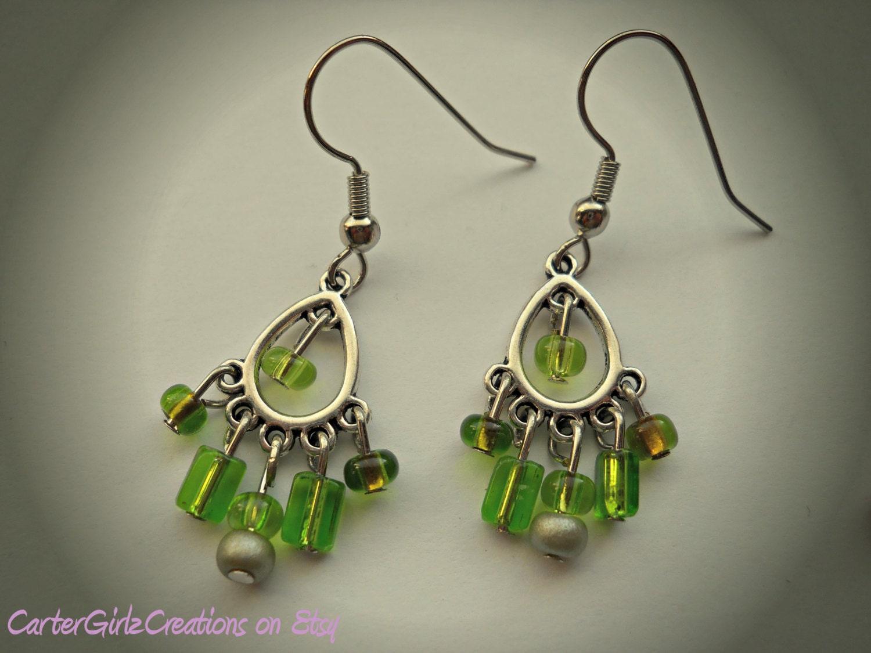 Green Chandelier Earrings Green Earrings by ...